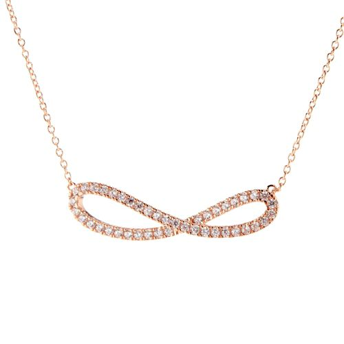 Argent Rosé 0 45 Fin 5 Cm L'or Carat 925 À 43 Diamonique Collier Infini MVpSUqz