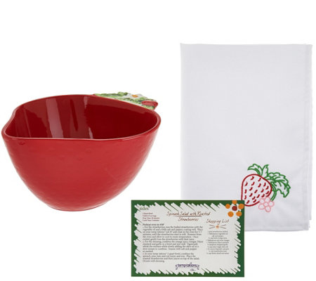 Temp-tations Figural Fruit 2qt Bowl with Napkin