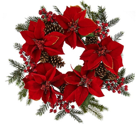 "22"" Glitter Velvet Poinsettia and Pinecone Wreath"