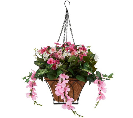 Bethlehem Lights Prelit Wisteria Hanging Basket with Timer