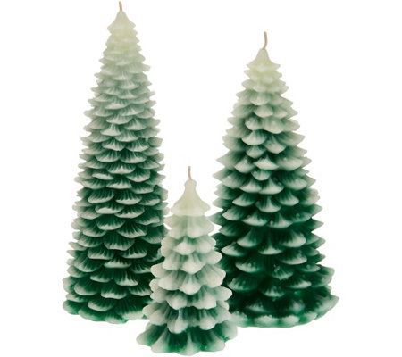 HomeWorx by Harry Slatkin Set of 3 Trees or Pinecones Figural Candles