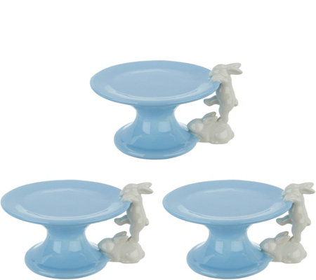 Set of (3) Ceramic Pedestal Lifts with Bunnies by Valerie