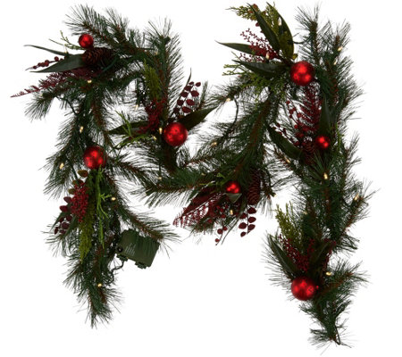 """As Is"" ED On Air 6' Mixed Pine Garland w/ Ornaments by Ellen DeGeneres"