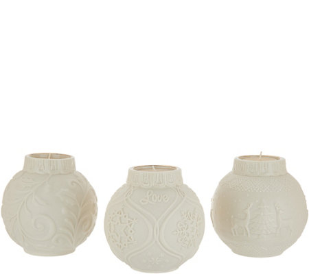 Lenox Set Of 3 Porcelain Season S Glow Votive Holders W 24k Accents