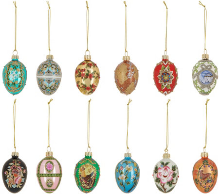 Joan Rivers 2018 Set of 12 Russian Inspired Mini Egg Ornaments
