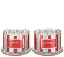HomeWorx by Harry Slatkin Set of (2) 18oz Peppermint Lane 4-Wick Candles - H217000