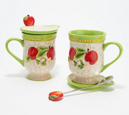 Temp-tations Basketweave S/2 Fruit Mugs with Lids & Spoons