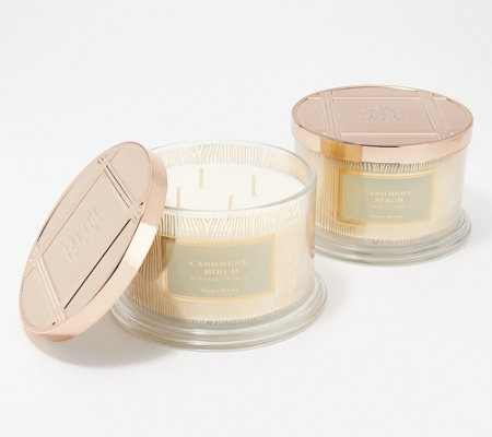 HomeWorx by Harry Slatkin S/2 Cashmere Birch Deluxe 4-Wick Candles