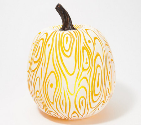 "Martha Stewart 12"" Illuminated Indoor/Outdoor Faux Bois Pumpkin"