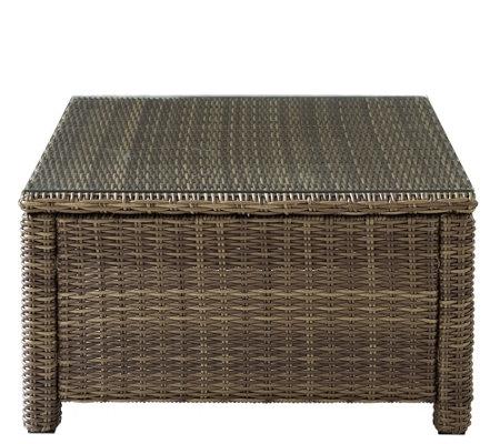 Crosley Bradenton Wicker Sectional Glass Top Coffee Table