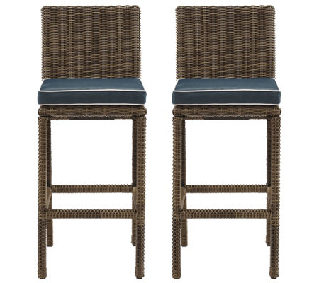 Crosley S/2 Outdoor Wicker Bar Stools - Bradenton Collection