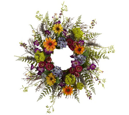 "24"" Spring Garden Wreath w/Twig Base by NearlyNatural"