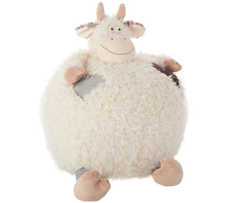 "Mina Victory Plush Cow 16"" x 16"" Kids' Pouf Pillow"