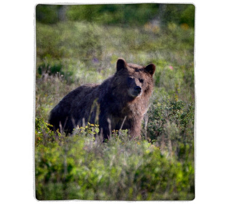 Grizzly Bear Sherpa Fleece Throw by Lavish Home