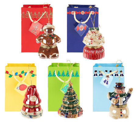 Mr. Christmas Set of 5 Customer Choice Porcelain Music Ornaments