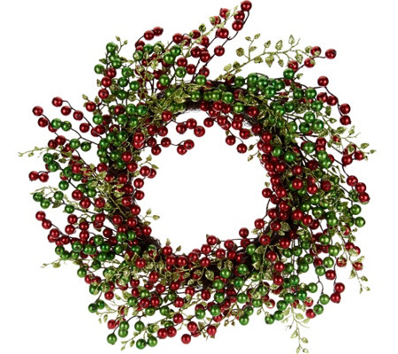 "22"" Glitter Berry Wreath by Valerie"