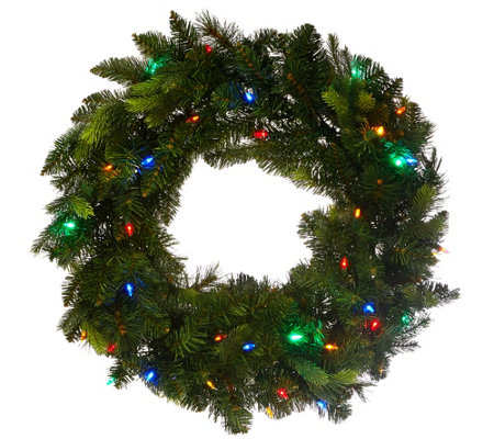 """As Is"" Bethlehem Lights 24"" Mix Greens Prelit Holiday Wreath"