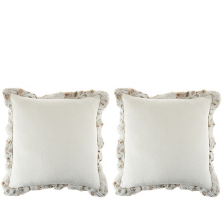 """As Is"" Dennis Basso Set of 2 Faux Fur Pillows with Trim"