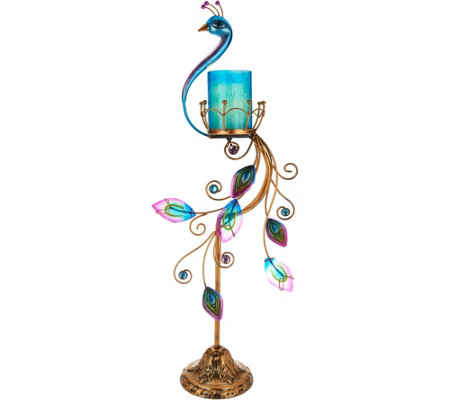 HomeReflections Indoor/Outdoor Peacock Flameless Candle Holder