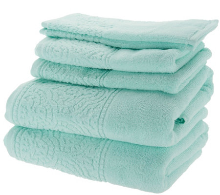 Casa Zeta-Jones 6-Piece 100% Cotton Jacquard Border Towel Set