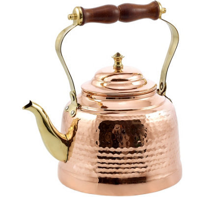 Old Dutch Solid Copper Hammered Tea Kettle w/ Wooden Handle