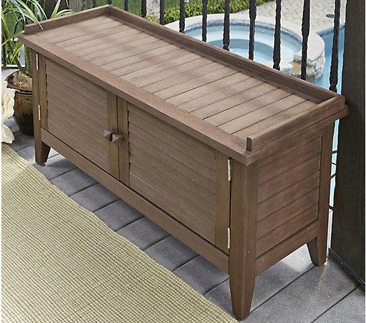 Laguna Outdoor Storage Bench Qvc Com