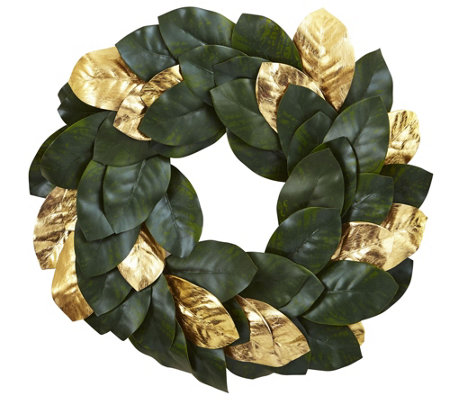 "22"" Golden Leaf Magnolia Wreath by Nearly Natural"