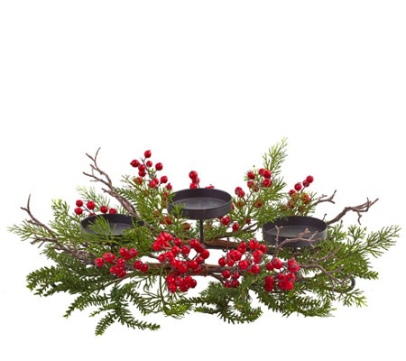 Berry & Pine Triple Candelabra by Nearly Natural