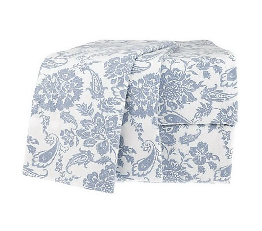 Northern Nights Paisley Bloom 100 Cotton Flannel King Sheet Set Qvc Com