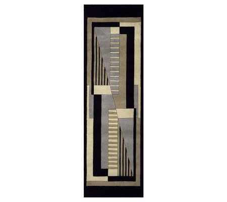 "Momeni New Wave Geometric 2'6"" x 12' Handmade Wool Runner"
