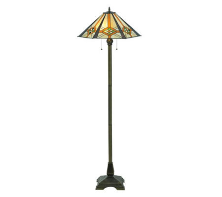 "Tiffany Style 61"" Crossairs Mission Floor Lamp"