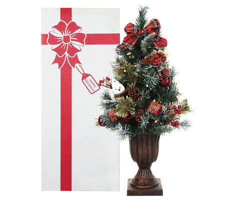 kringle express 24 pre lit decorated christmas tree in gift box - Pre Lit Decorated Christmas Trees