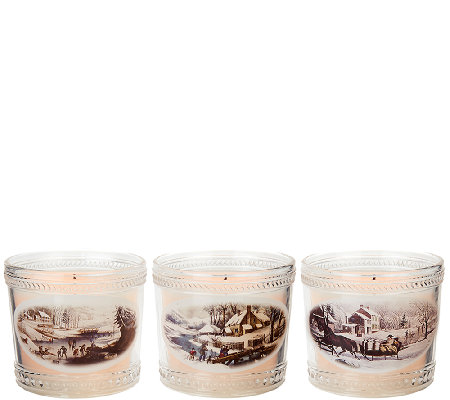 Set of 3 Candle Impressions Currier & Ives Keepsake Glass Candles