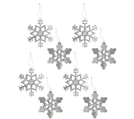 Set of 8 Glittered Metal Snowflake Ornaments
