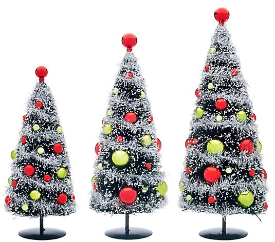 Set of 3 Bottlebrush Trees with Ornaments by Valerie
