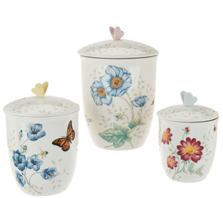 Lenox Butterfly Meadow Porcelain 3-pc Canister Set