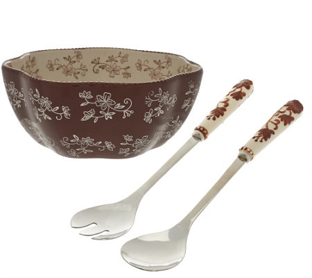"""As Is"" Temp-tations Floral Lace Salad Bowl with Servers"