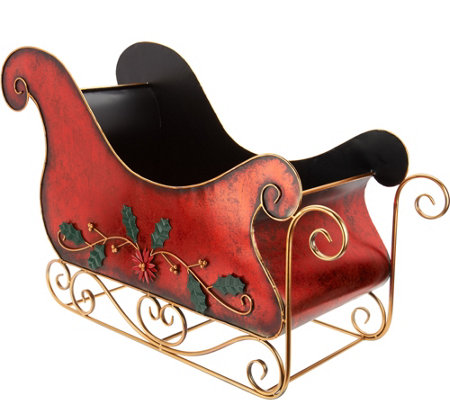 Oversized Decorative Metal Red Sleigh by Valerie