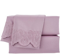 Casa Zeta-Jones Vintage Lace 400TC Cotton Embroidered Hem Sheet Set - H215202