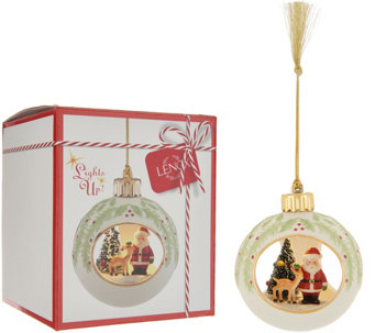 lenox lit holiday scene ornament with 24k gold accents box h216102 - Lenox Christmas Decorations