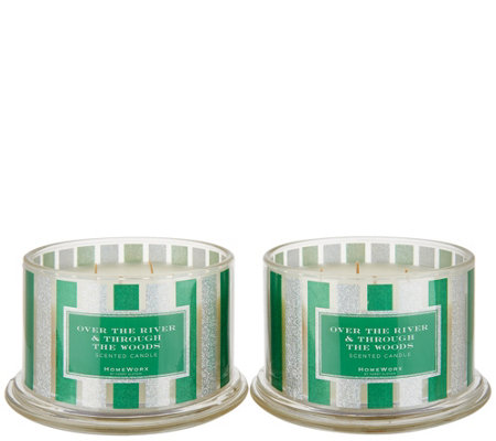HomeWorx by Harry Slatkin Set of (2) 18oz The Woods 4-Wick Candles