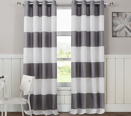 "Avondale Manor Cabana Stripe Set of 2 84"" x 54""Window Panels"