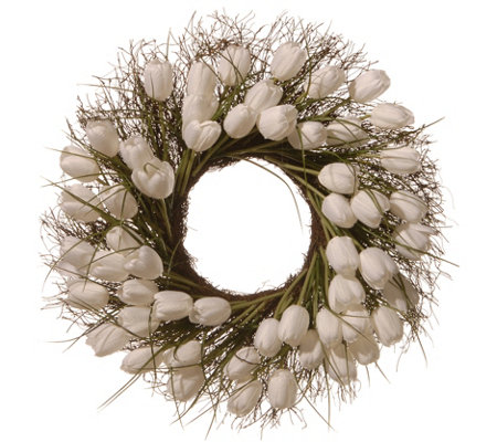 "National Tree Company 24"" White Tulip Wreath"