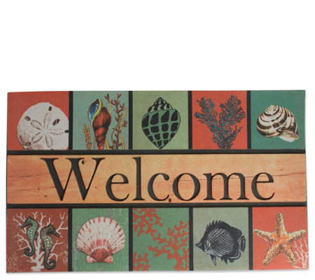 Coastal Welcome Printed Flocked Doormat With Rubber Back