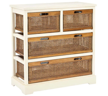 Safavieh Jackson 4-Drawer Storage Unit - Whitew/Cane Drawers