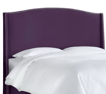 Queen Nail Button Wingback Headboard