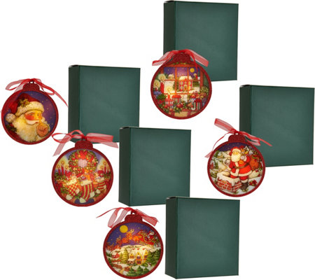 Set of 5 Illuminated Ornaments with Gift Boxes by Valerie