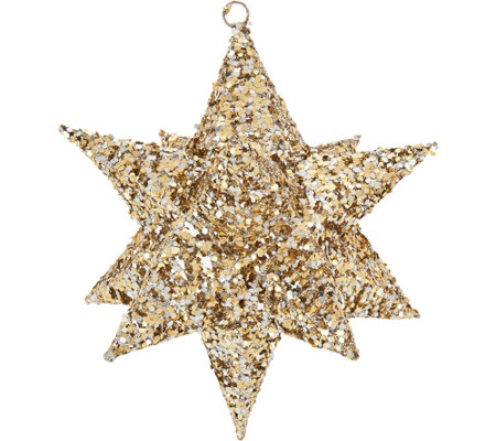 "Set of 3 10"" Glittered Decorative Stars w/Hangers by Valerie"