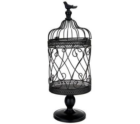 Scroll Design Metal Footed Birdcage w/ Bird Finial by Valerie