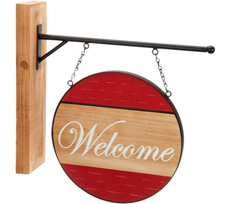 Plow & Hearth Wooden Sign with Interchangeable Messages
